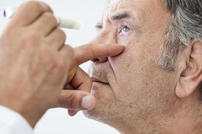 Man having eye investigation