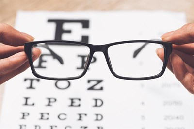 Eye chart and spectacles