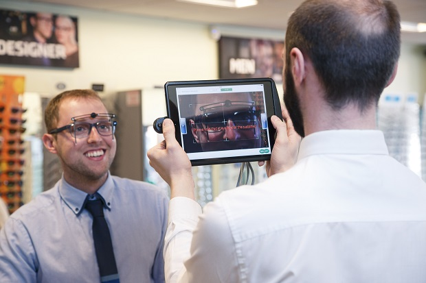 Facial measurements are collected using the iPad