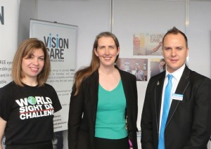 Optometry Giving Sight's marketing manager Sandra Mallia (left) met with VCHP chair Elaine Styles (also pictured) and Richard Harvey, product manager of fellow supporter Bondeye Optical