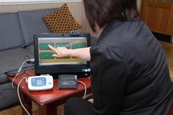 The healthcare at home computer helps patients mon