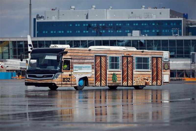 Finland-themed airport buses at Helsinki