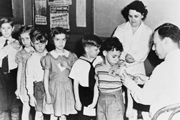 Children receive immunisation, 1940s