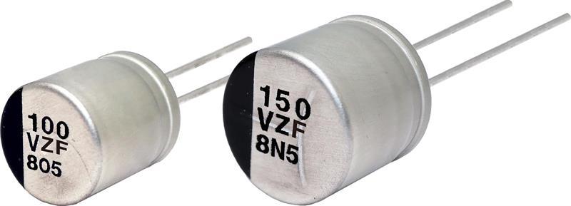 150°C conductive polymer hybrid capacitor portfolio in THT format