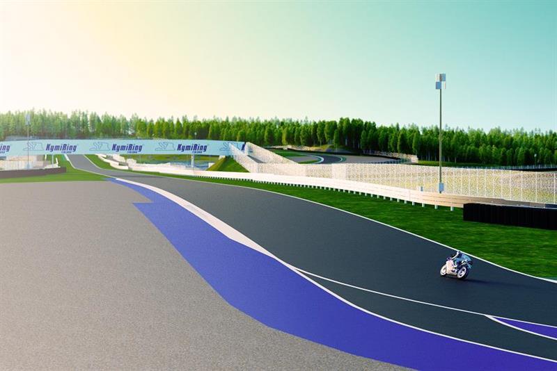 KymiRing racing circuit with motorbike turning