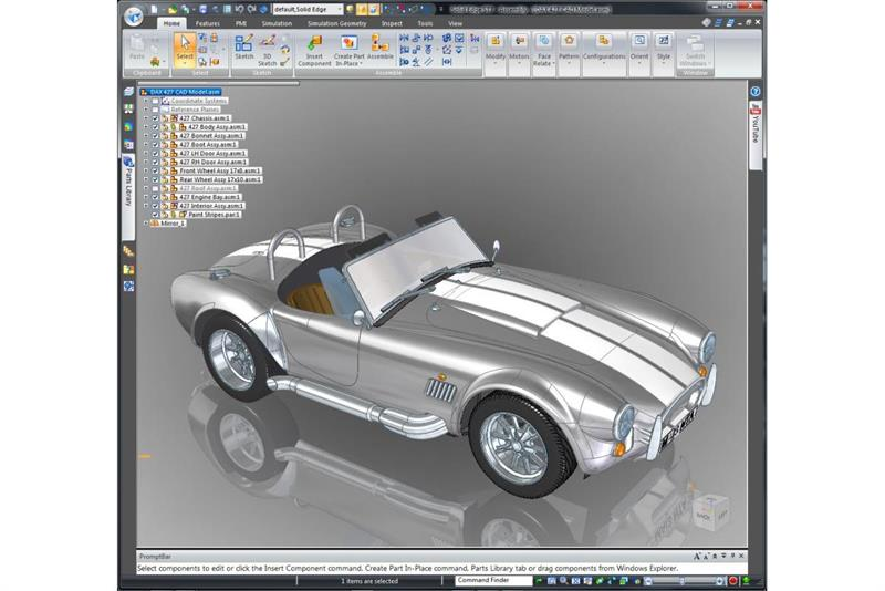 Sports car in reverse for Truck design software