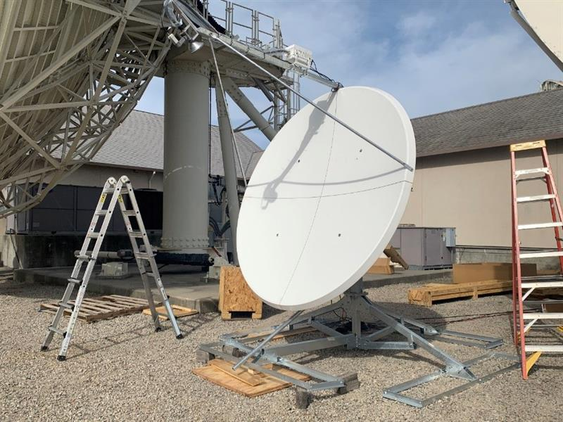 Intelsat's High Wind General Dynamics 2.4 Meter terminal tested for service prior to being boxed for shipment to Antarctica