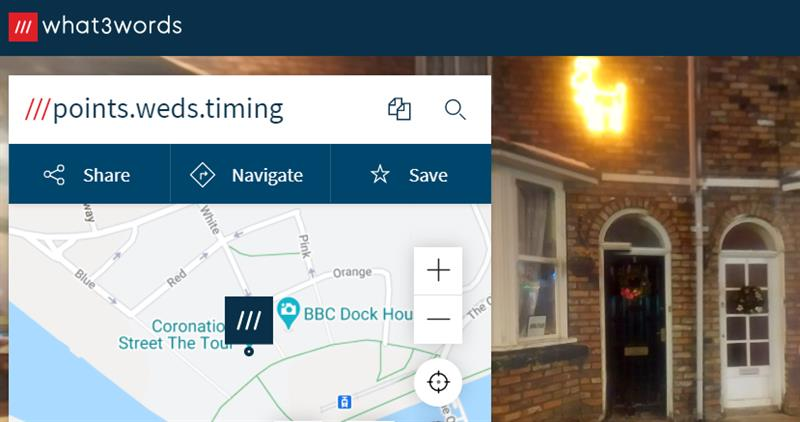 Coronation Street's location on what3words is points.weds.timing