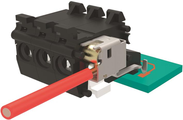 Spring clamp terminal blocks with compression-mount contacts