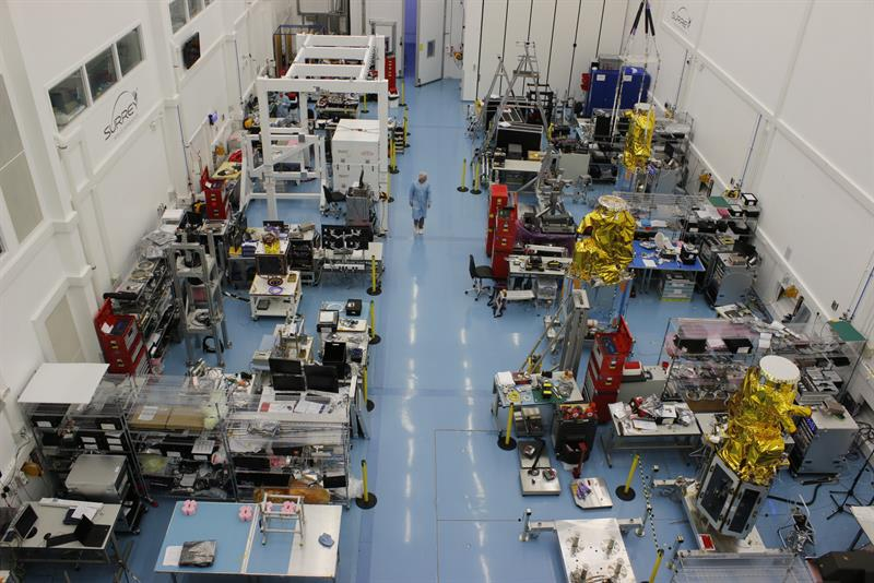 The assembly, integrationa and test hall at SSTL's facility in Guildford