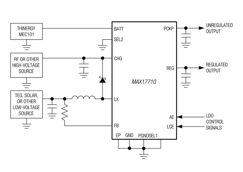MAX17710 simplified operating circuit