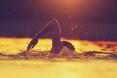 Man swimming in sea