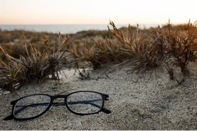 glasses on beach