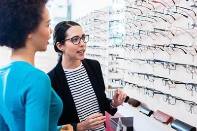 Women in a opticians practice