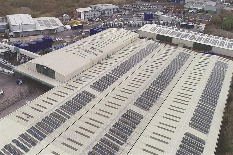 Solar panels on the roof of Fuchs' Stoke facility