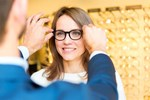 Person being fitted with spectacles