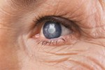 Close up of elderly person's eye