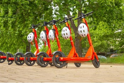 E-scooters in a row