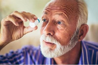 Person using eye drops