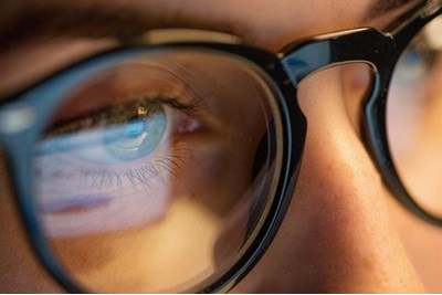Close up of person wearing frames